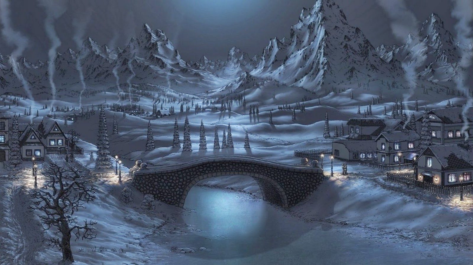 cute-peaceful-winter-night-beautiful-naturre-images-wallpapers