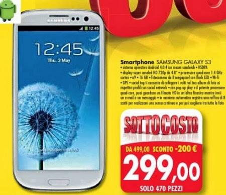 A 299 euro nell'ultimo volantino pre natalizio Emisfero propone questo Galaxy S3