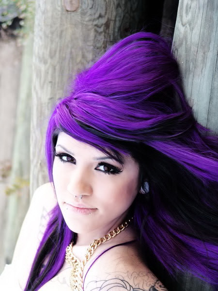 celebrity and hairstyle purple