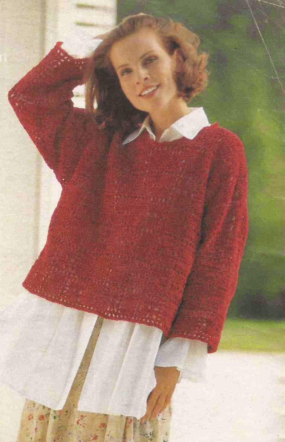 #112 Suéter o Jersey de Cuadros Rojos a Crochet