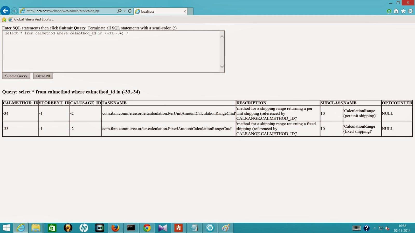 Websphere Commerce CALMETHOD table