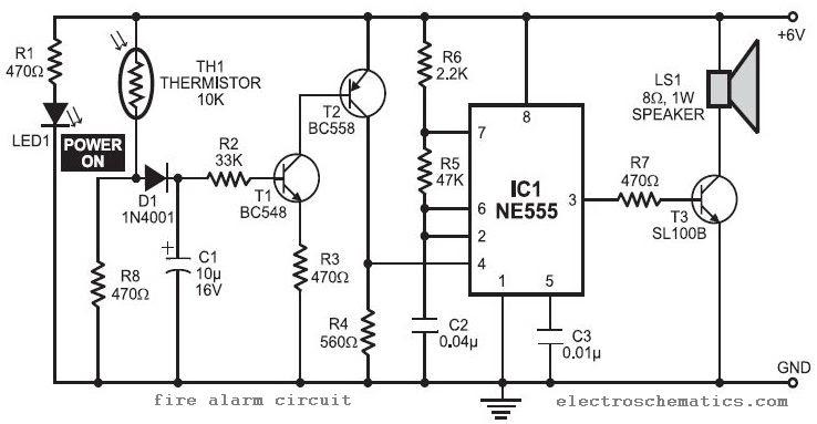 Electronic Hobby Circuits  Fire Alarm Circuit Using Ne555