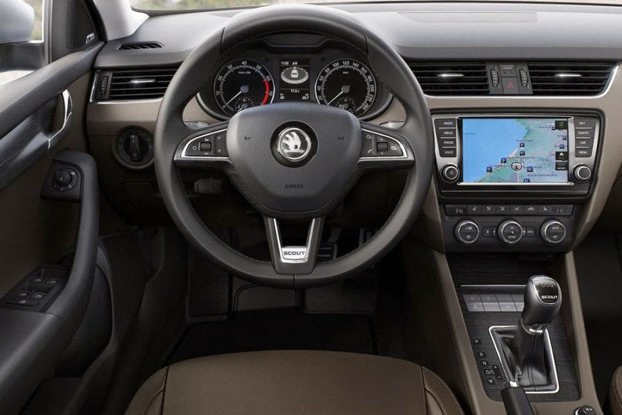 Skoda launched a new off-road wagon Octavia Scout 2016 interior
