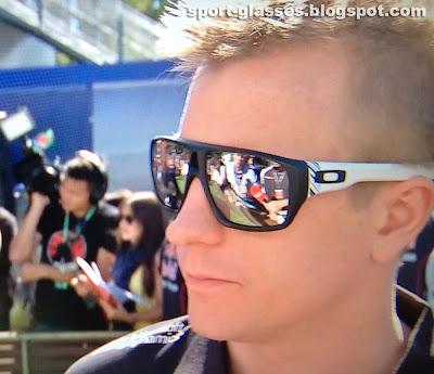 Kimi Raikkonen wearing Oakley Dispatch Sunglasses in a press interview - Australian GP 2013