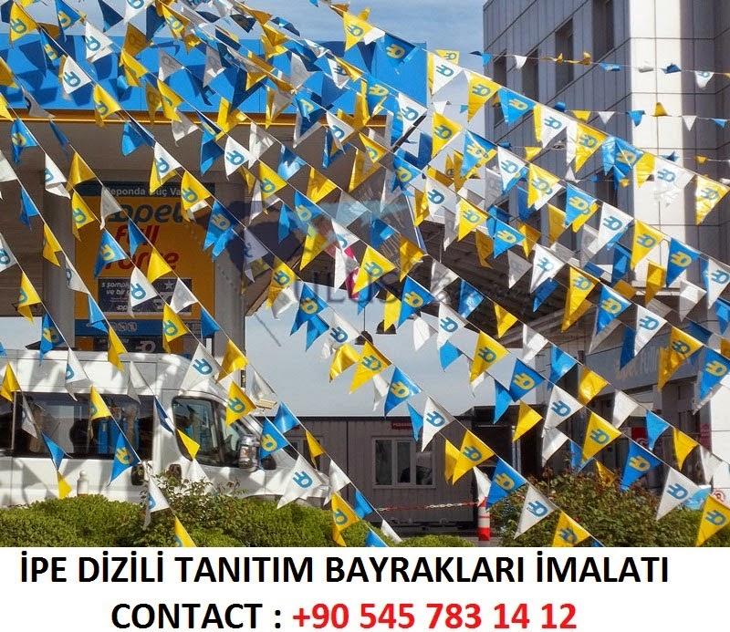 üçgen ipe dizili tanıtım bayrakları imalatı