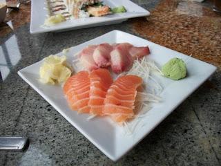 Six-piece sashimi plate.