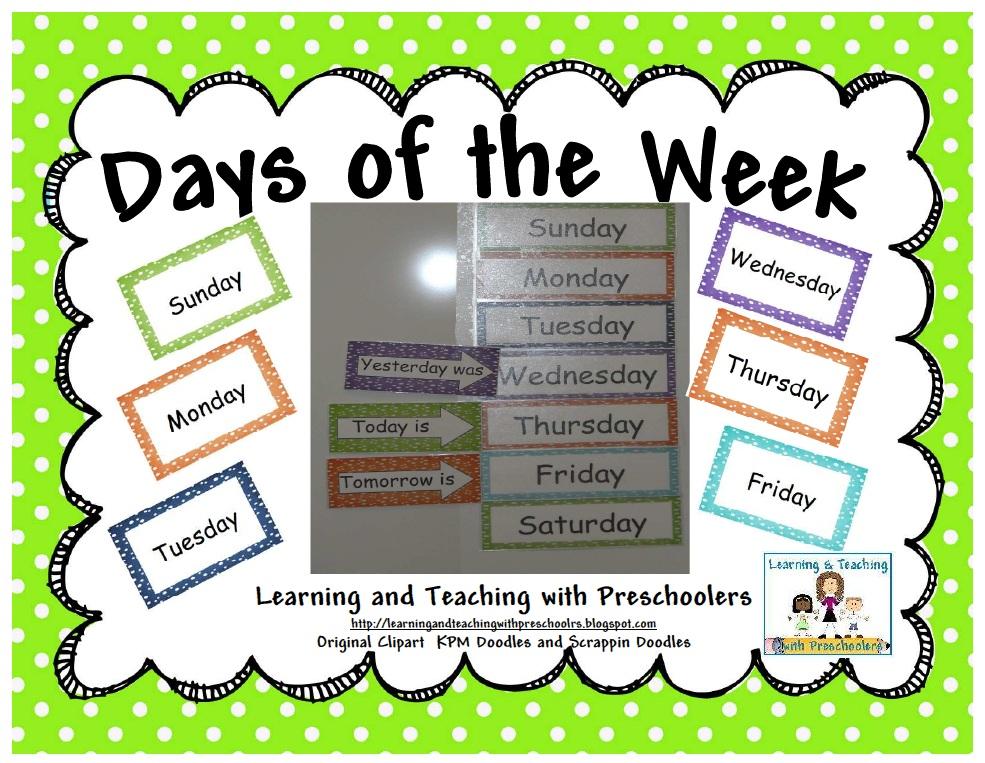 Days of the week teaching worksheets