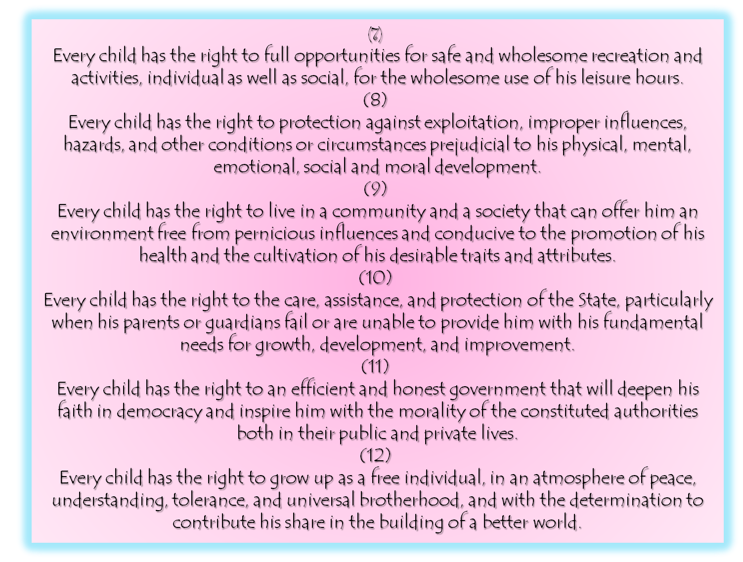 child protection law in philippines What are the rights of a child in philippines principle 2 the child shall enjoy special protection there is not really a law for the philippines are on of.