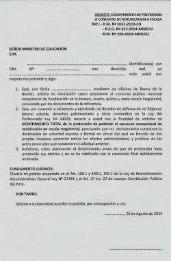 MODELO DE SOLICITUD DE DESISTIMIENTO DEL SEUDO ASCENSO DE ESCALAS DE LA LEY 29944