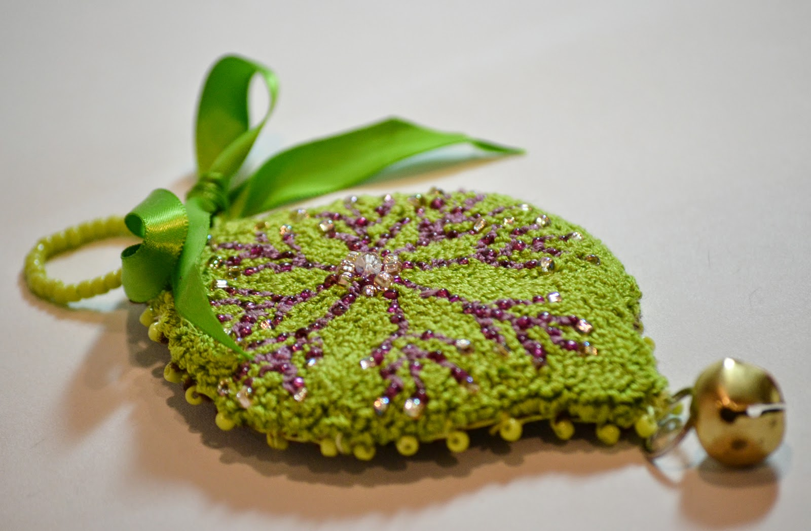 Kelley Green Punch Needle Beaded Ornament