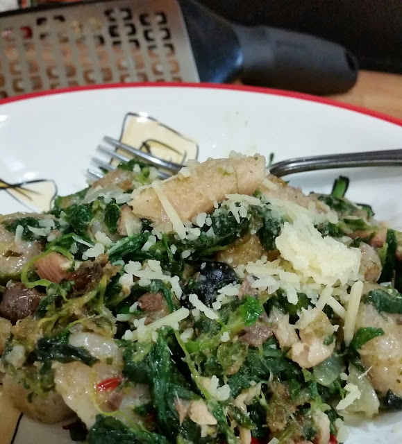 Wheat Gnocchi w/ Caper Pesto Spinach and Sardines
