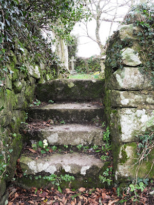 Old steps leading to St Denys churchyard Cornwall