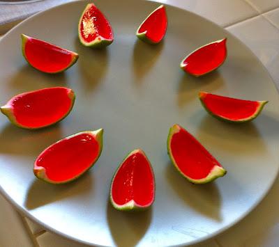 watermelon jello shots www.thebrighterwriter.blogspot.com