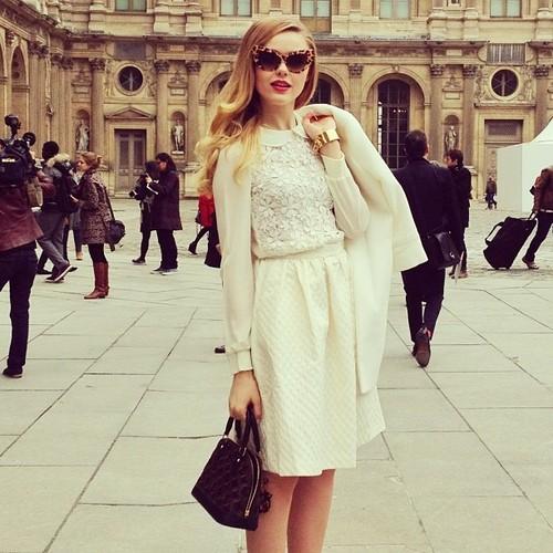 Fancy sunglasses, golden wrist watch, jacket, hand bag and dress for fall