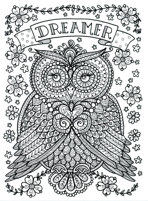 Coloring Page World Dreamer Owl Portrait Coloring Pages Of Owls For Adults
