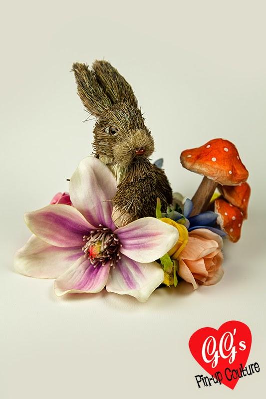 rabbit, toadstool, spring, bridal, fascinator, hat, cute, kitsch, quirky, vintage, hat