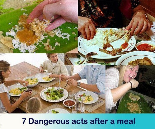 Dangerous acts after a meal