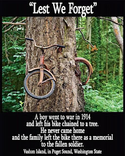 Tree grows around bike in Vashon Island Washington Lest we forget wwI boy leaves bike chained to tree never returns false meme fake untrue lies