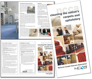 Carpet and upholstery cleaning flyer from www.ncca.co.uk