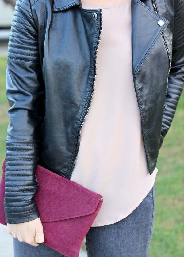 nude top, tshirt, leather jacket, ASOS, envelope clutch, burgundy