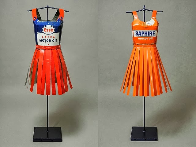 Sculptural Dresses Crafted from Vintage Oil Cans