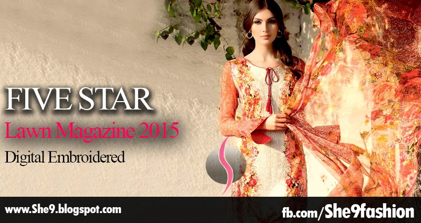 Five Star | Digital Lawn Embroidered Collection 2015
