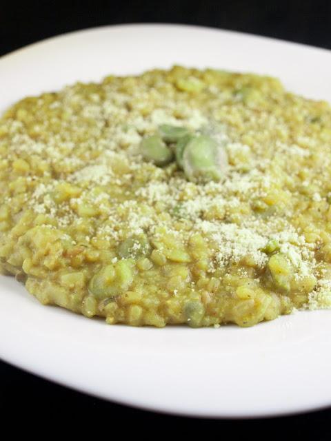 risotto brązowy ryż bób rukola
