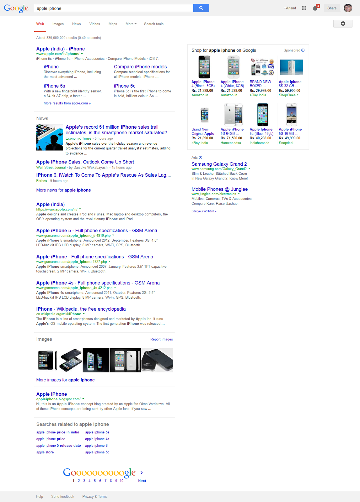 Google Search Result Page with Google Shopping Products