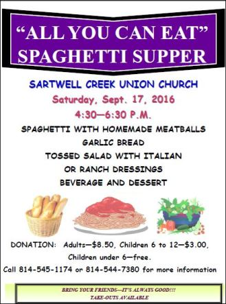 9-17 All You Can Eat Spaghetti Supper