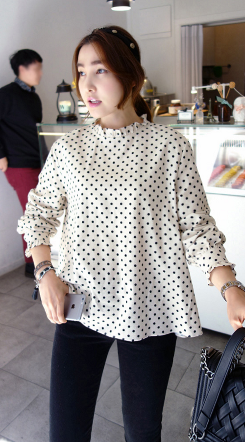 Frilled Dotted Blouse