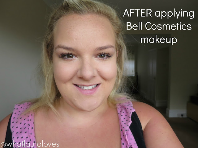 After applying Bell Cosmetics makeup