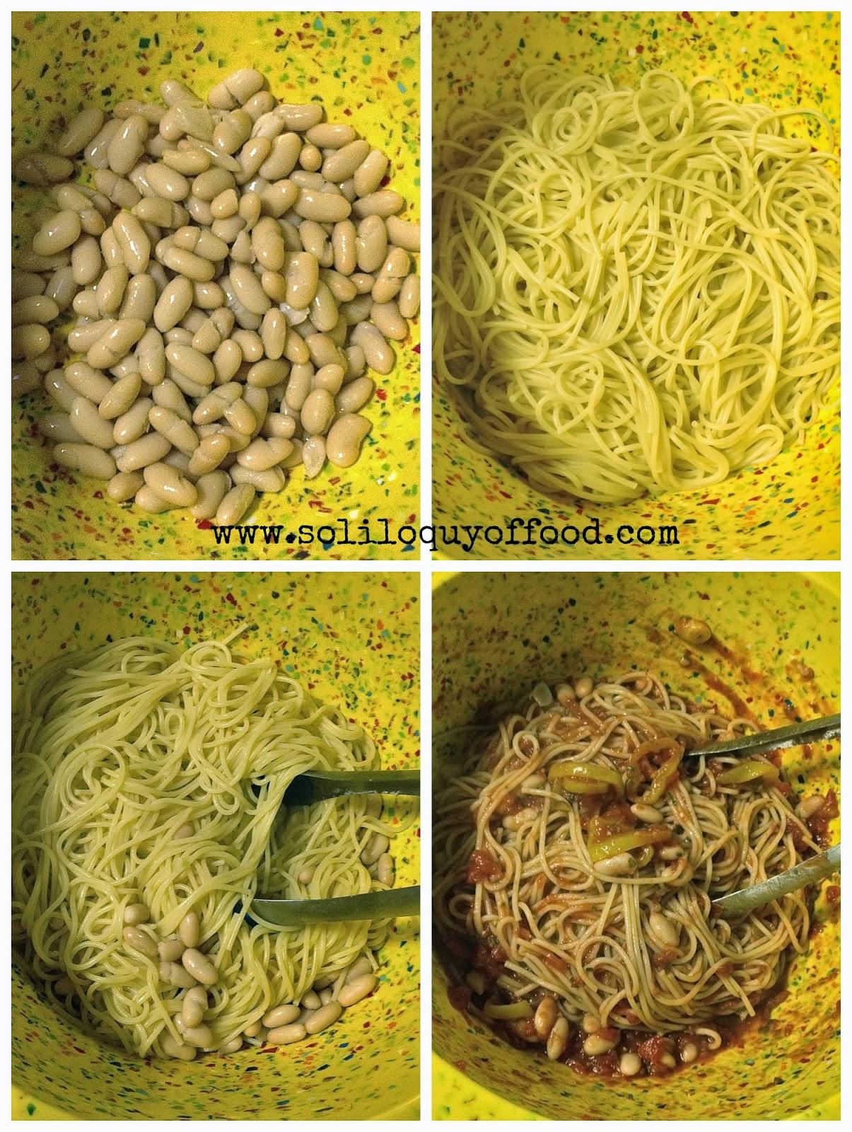 Spaghetti and Cannellini Marinara Alla Momma - zingy banana peppers are the alla momma portion - www.soliloquyoffood.com