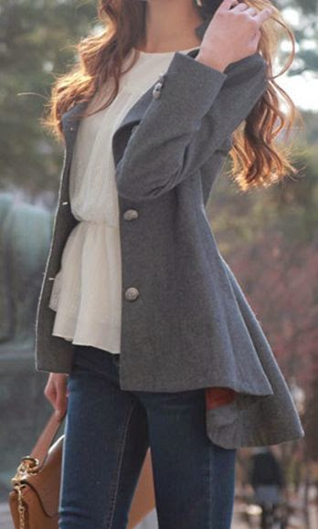 Adorable grey trench coat with white dress and skinnies with handbag