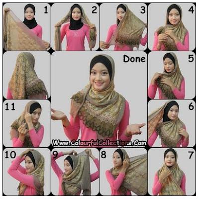 Cara Memakai Jilbab Selendang Rumbai