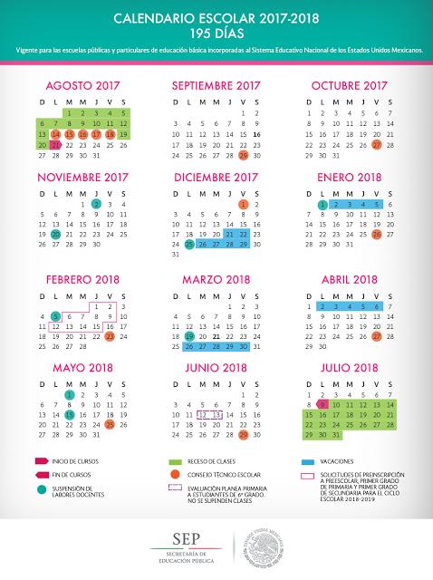 CALENDARIO ESCOLAR 195 DÍAS