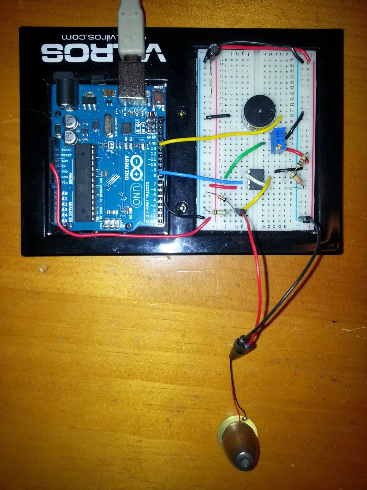 Internet Of Things High Sensitivity Vibration Sensor Using Arduino Circuit Piezo Electric Buzzer Explained Homemade Projects And A Close Up The Element With Fishing Weight Glued On Epoxy For Added