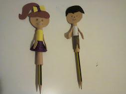 Lápis com boneco em EVA