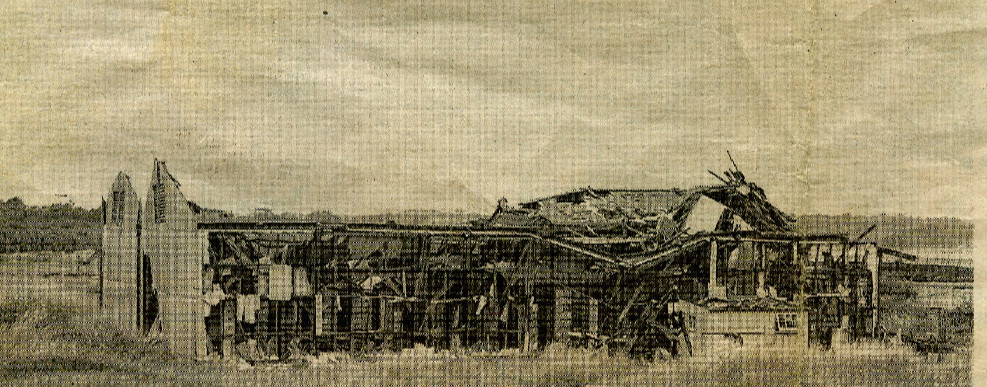 Shattered shed after 1950 Bedenham Explosion