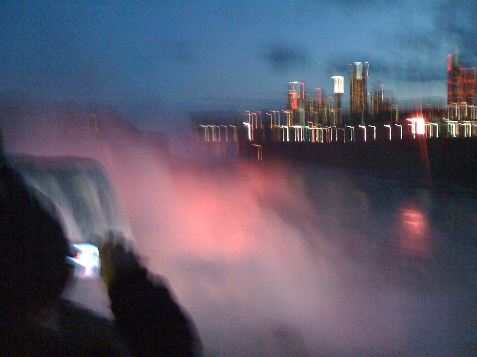 Niagara falls lit up from Canadian side