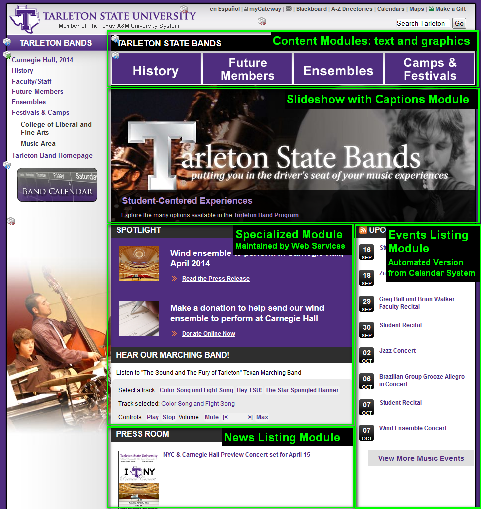 A screenshot of the Band website as seen in the Layout view of Cascade showing the complexity of a modular page.