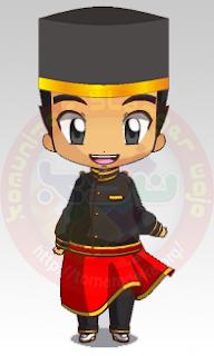 Mascot Chibi dengan pakian Adat