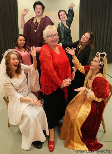 Centre: Mairi Fitzsimons, drama teacher, deputy principal, Havelock North High School, Havelock North, retiring at the end of this week, pictured with some of her Shakespeare students  L-R:Kelsey Aldersley, Layla Pitt, Brendon Tipene, Brie Keatley, Emily Lloyd, Nicole Brailsford photograph