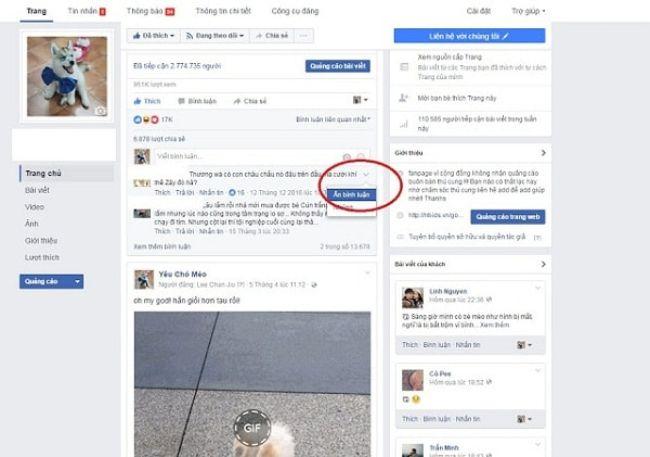Cách ẩn comment trên facebook thủ công