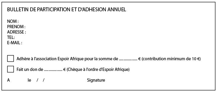 Bulletin de Participation et d'Adhésion Annuel