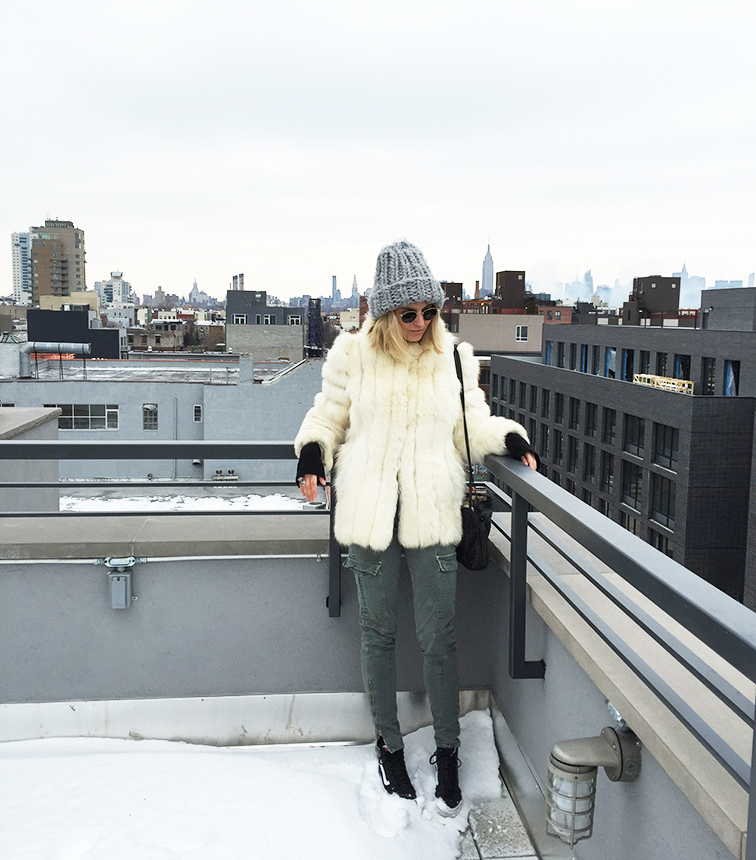 Fashion Over Reason rooftop chronicles, winter, fur, outerwear, J Brand, Vans, Vans Girls, New York City, NYC, Manhattan skyline