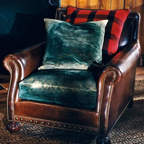Ralph Lauren Blue Leather Sofa