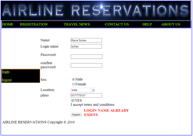 Online Airline Ticket Reservation System