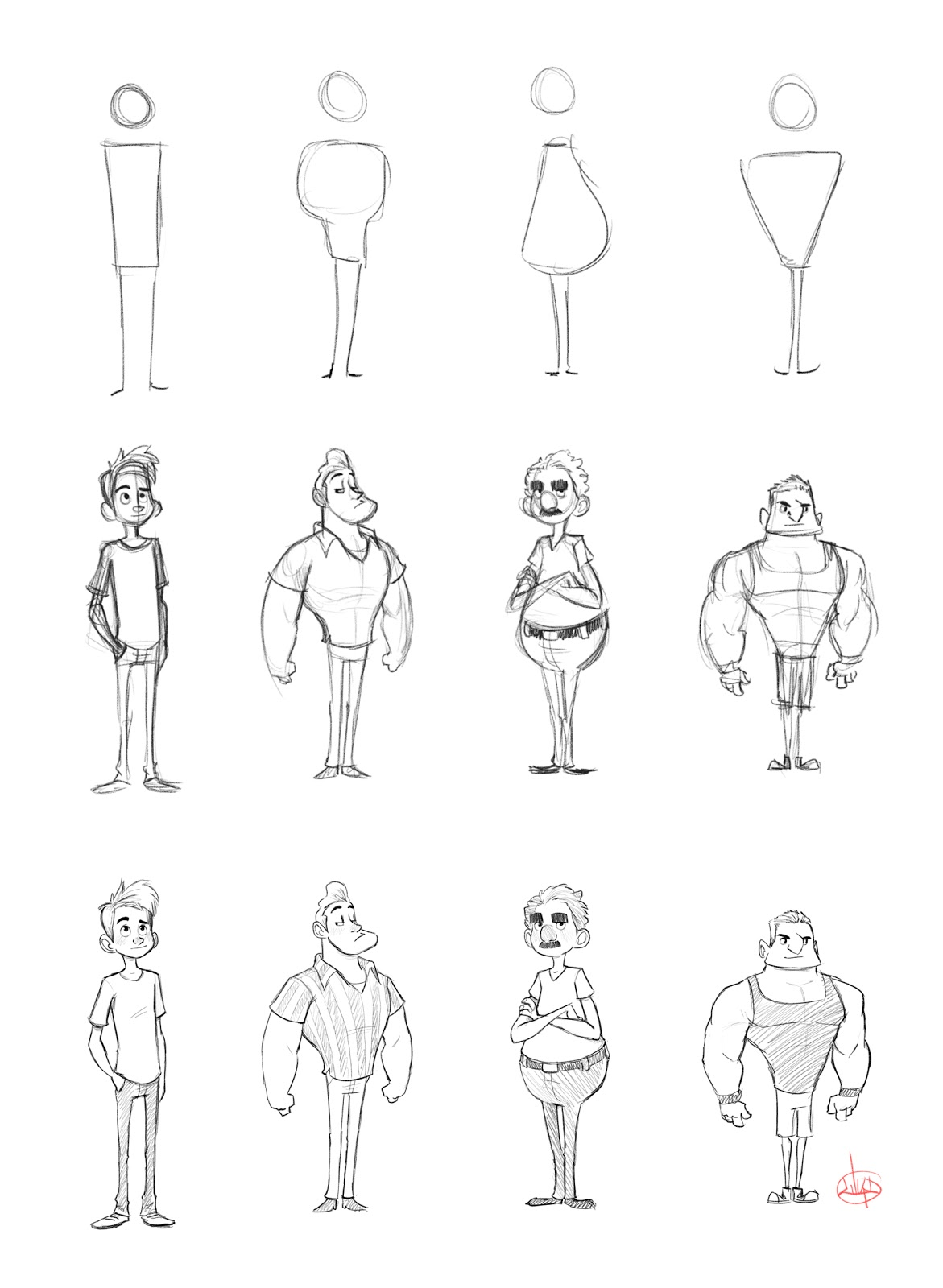Character Design For Beginners : The art of luigi lucarelli character shape sketching