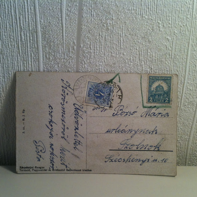 old hungarian transylvanian postcard handwriting Bernath leporello stamps