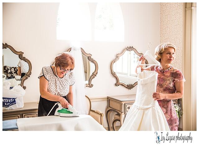 Bride getting help